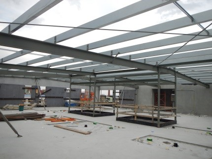 Steelwork ready for roofing