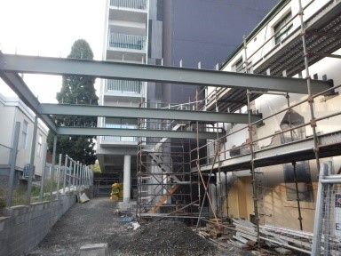 Steelwork for the Outdoor Play Area behind Upper Hall