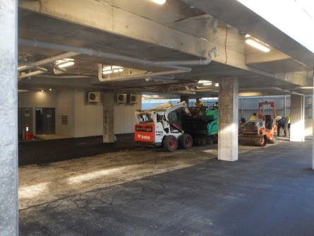 Carpark sealing in progress